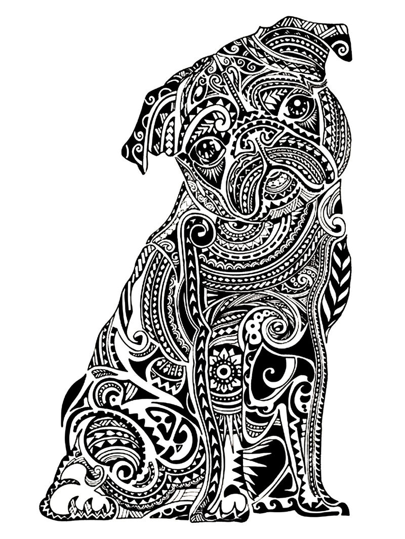 Advanced Dog Coloring Pages For Adults