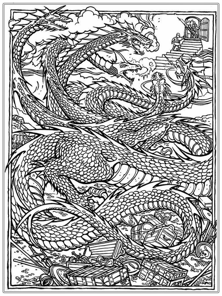 Advanced Dragon Coloring Pages For Adults