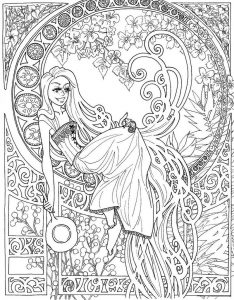 Advanced fairy coloring pages for adults