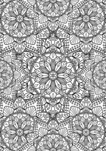 Advanced flower mandalas to color