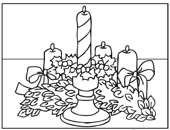 Advent Wreath Christmas Coloring Sheets