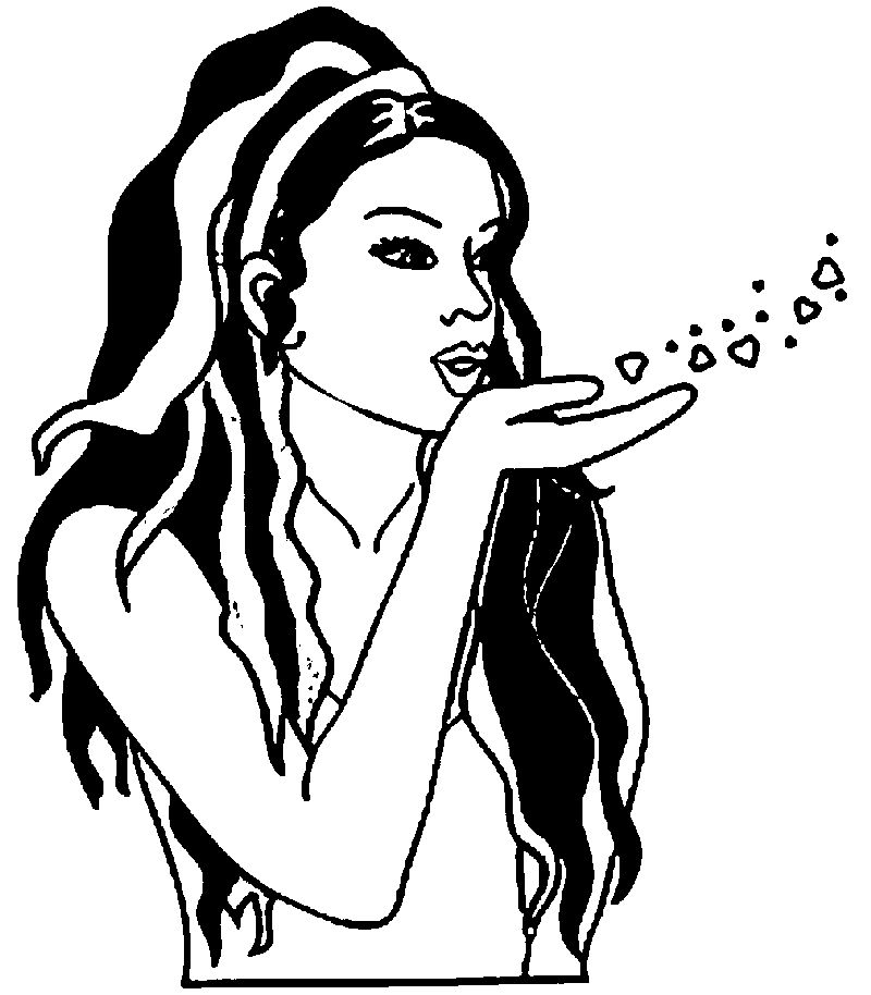 African Love Girl Coloring Page
