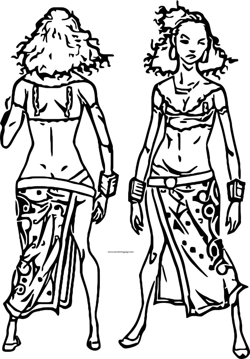 African Woman Back And Front Character Design Coloring Page