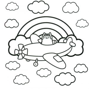 Airplane cat pusheen coloring pages 001