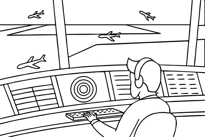 Airplane Cockpit Coloring Page