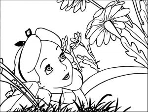 Alice in the wonderland flower coloring page 1
