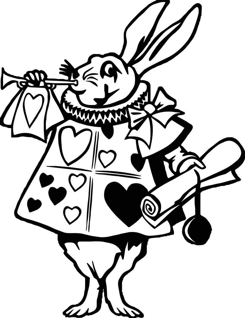 Alice In The Wonderland Music Bunny Coloring Page
