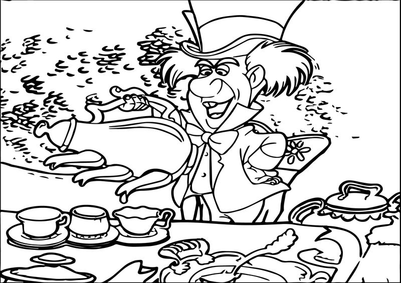 Alice In The Wonderland Tea Time Coloring Page