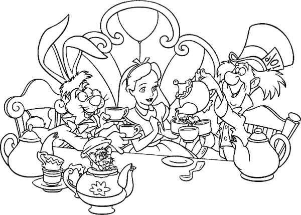 Alice In Wonderland Tea Party Coloring Pages