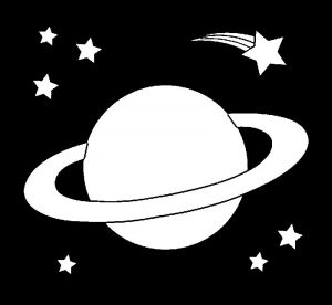 Alien ringed planet black background coloring page
