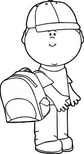 All school boy coloring page