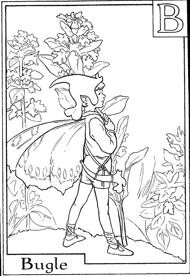 Alphabet Fairy Bugle Coloring Pages