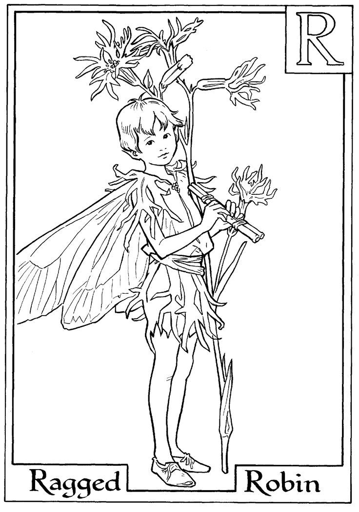 Alphabet Fairy Robin Coloring Page