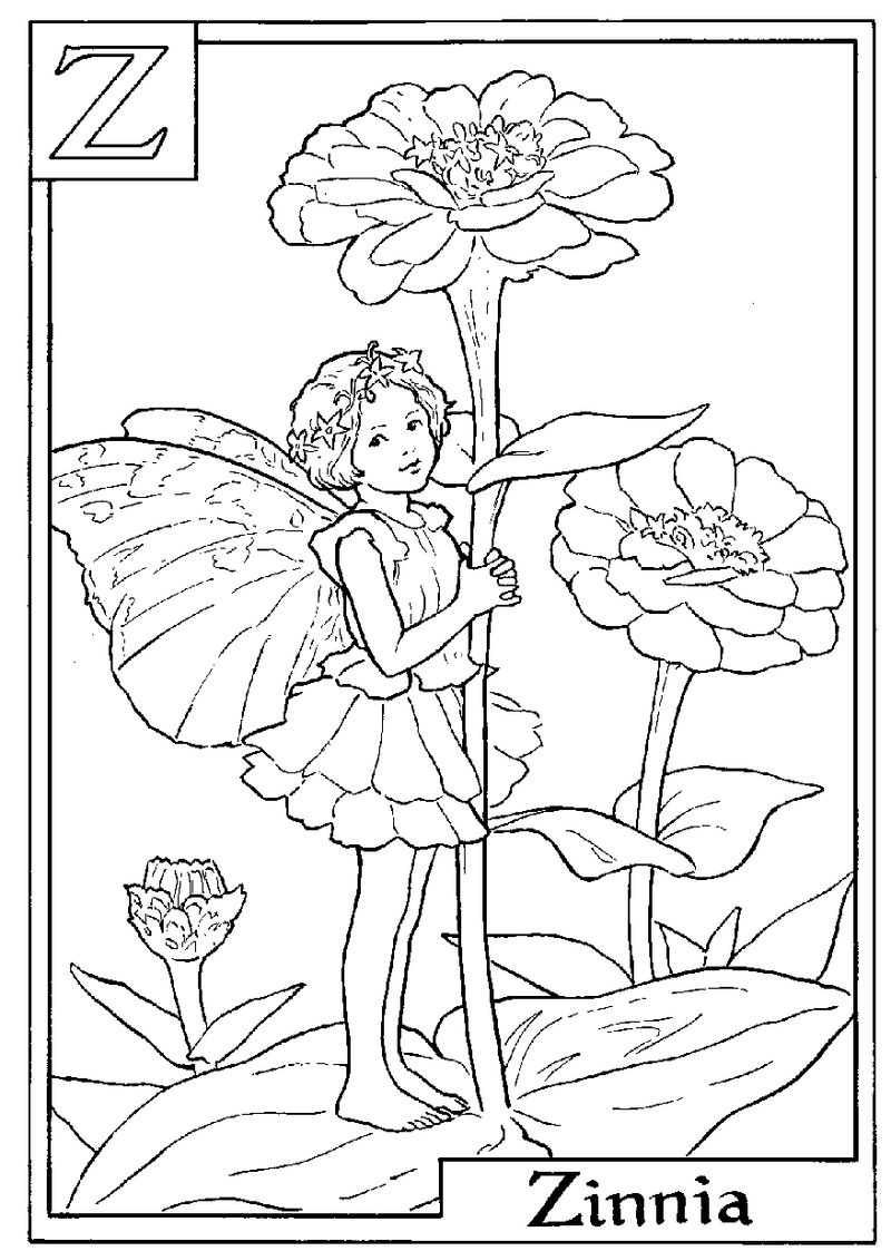 Alphabet Fairy Zinnia Coloring Pages