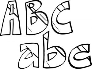 Alphabet small and big abc coloring page