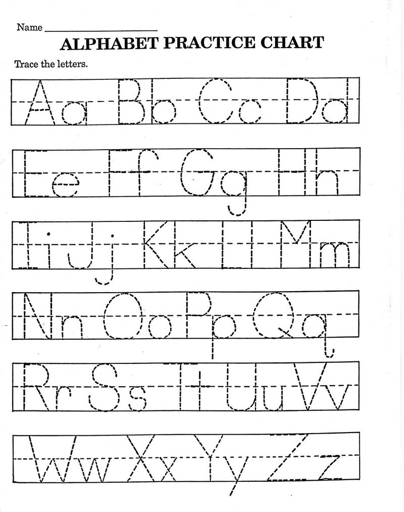 Alphabet Worksheets Practice Chart Tracing 001