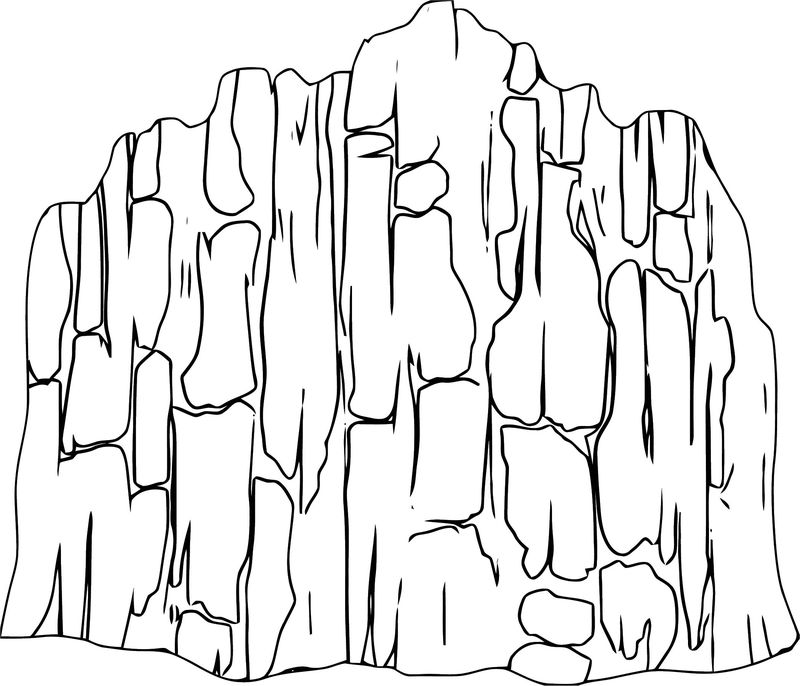 Alpine Landscape Cliff Face Mountaineering Landscape Coloring Page