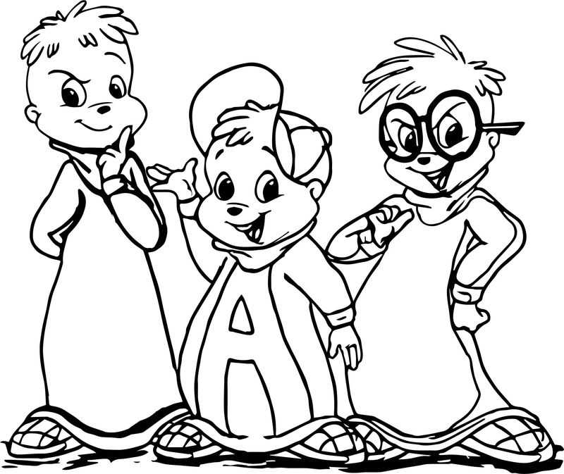 Alvin And Chipmunks Cartoon Coloring Page