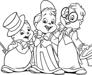 Alvin and the chipmunks show cartoon coloring page