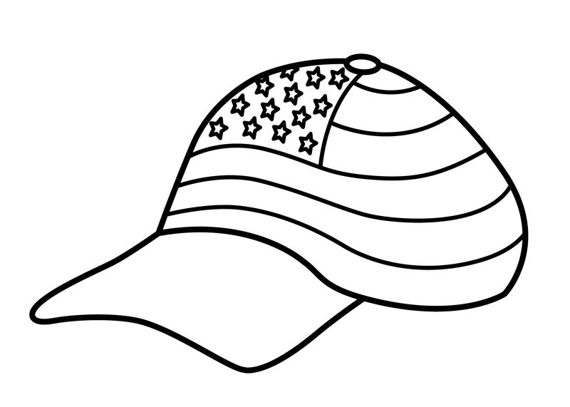 American Baseball Hat Coloring Page