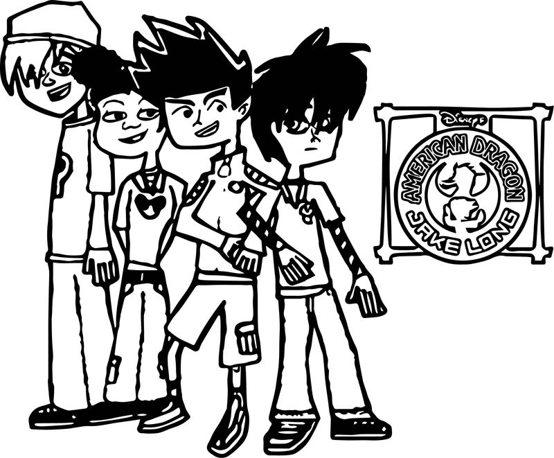American Dragon Jake Long And Four Friends Coloring Page
