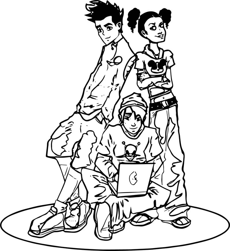 American Dragon Jake Long Friends Computer Coloring Page