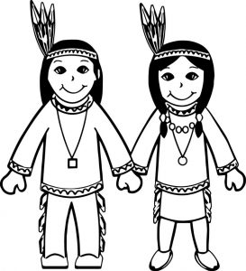 American indian cartoon boy and girl coloring page