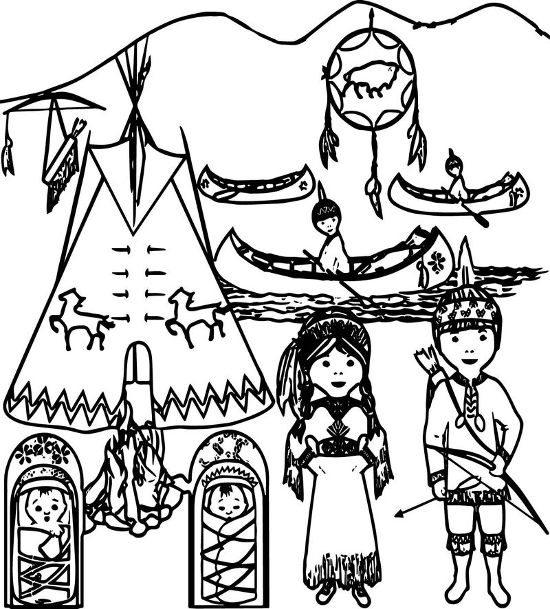 American Indian Family Coloring Page