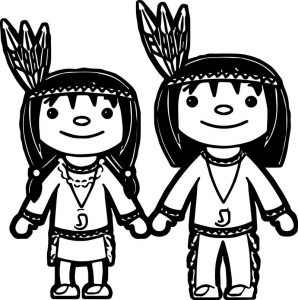 American indian girl and boy coloring page