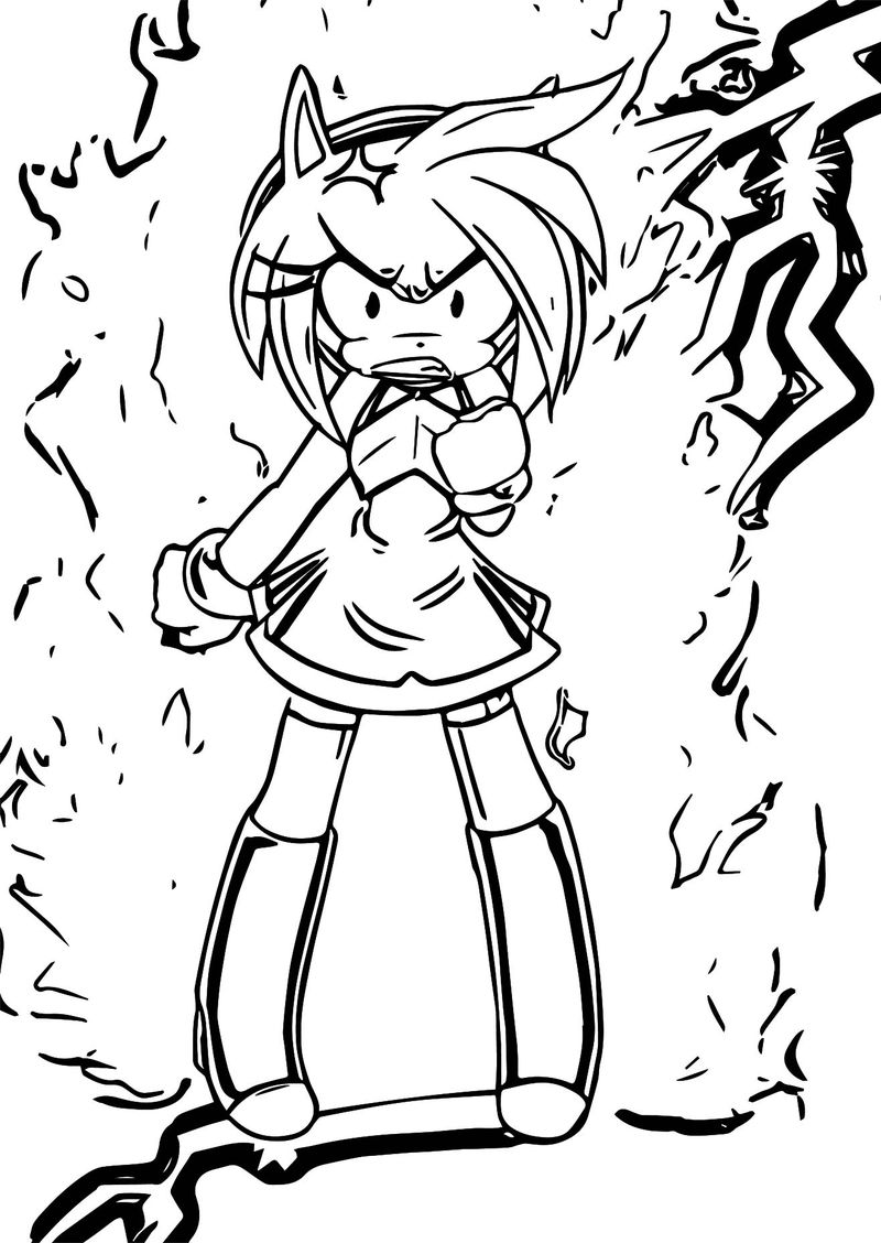 Amy Rose Angry Shock Coloring Page