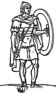 Ancient rome roman soldier with shield sword coloring page