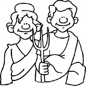 Ancient rome village family coloring page