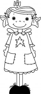 Angel cute girl coloring page