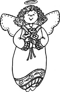 Angel girl cute coloring page