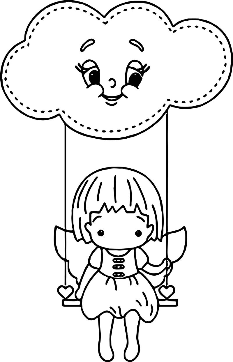 Angel Girl Stay Cloud Swing Coloring Page