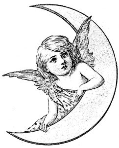 Angel moon vintage graphics fairy coloring page