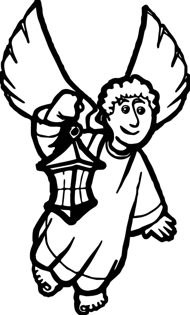 Angel With Lantern Coloring Page