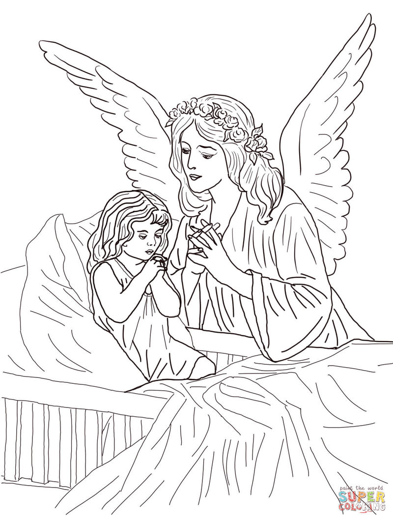 Angel With Praying Child Coloring Page