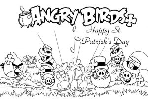 Angry bird st patricks day coloring page