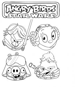Angry bird star wars coloring page