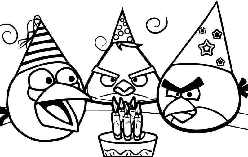 Angry Birds Birthday Coloring Page