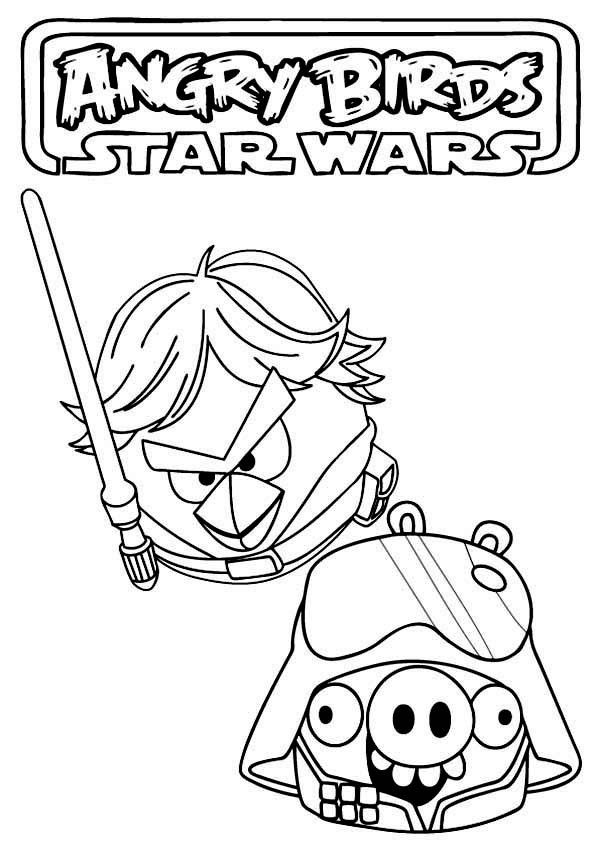 Angry Birds Star Wars Coloring Pages Luke And Vader