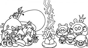 Angry birds vs bad piggies coloring page