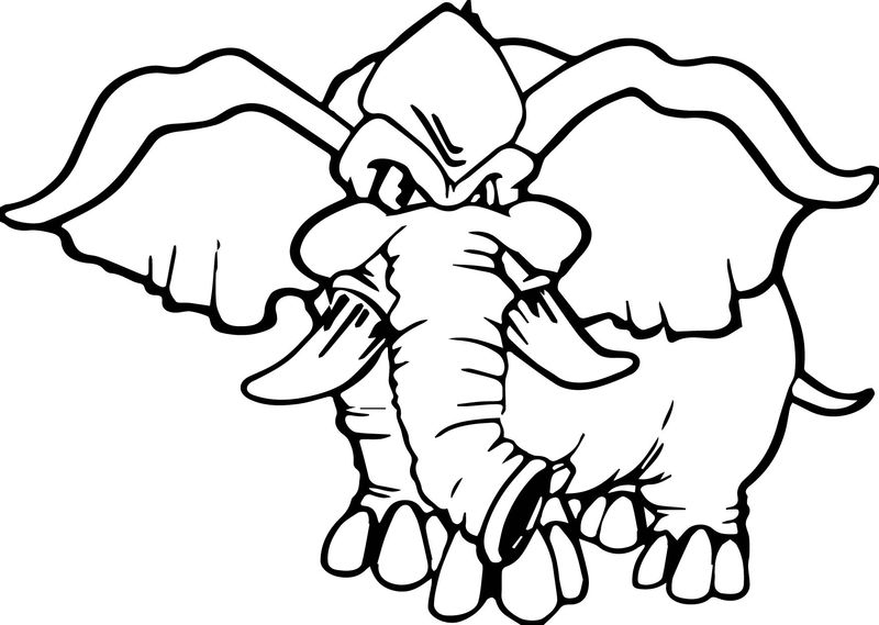 Angry Elephant Coloring Pages