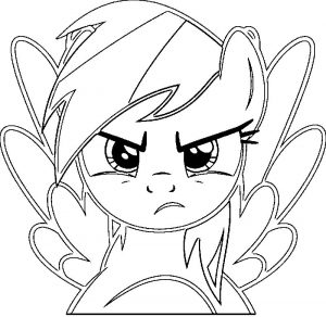 Angry rainbow dash mlp coloring page