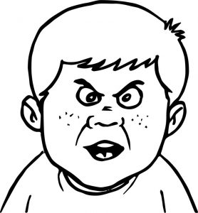 Angry talking boy face coloring page