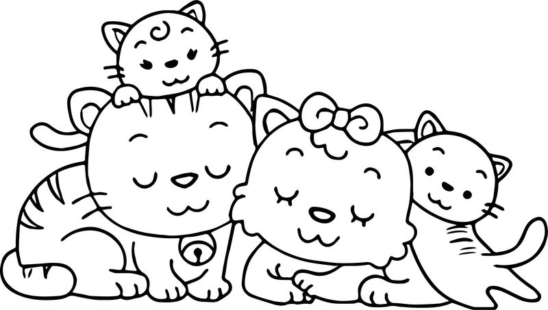 Animal Cat Family Coloring Page
