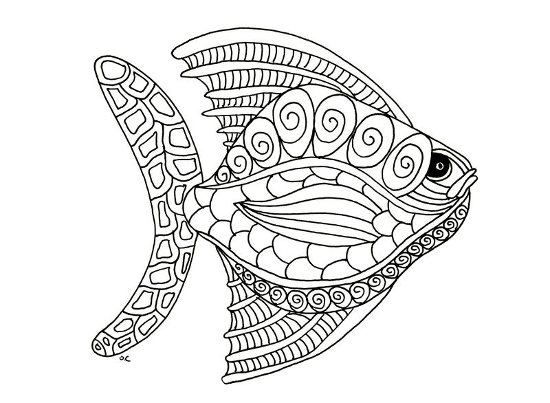 Animal Coloring Pages For Adults Fish 001