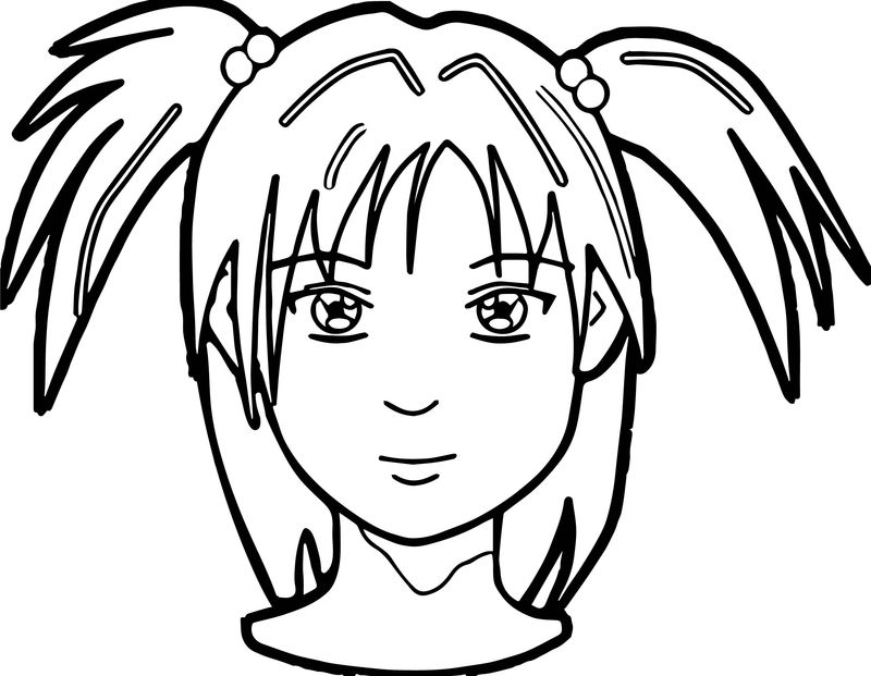 Anime Girl Face Coloring Page 001