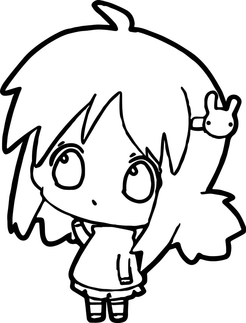Anime Thinking Girl Coloring Page